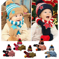 baby hat scarf and gloves - 2014 New Novelty Fashion Product Baby Child Lovely Knitted Scarf Hat Glove Sets with Stars and a ball Yarn Warm Winter