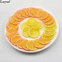 artificial lemon - Scrapbook Artificial Flowers Fake Lemon orange Slice Garnish Artificial Fruit Faux Food Decor