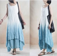asymmetrical hem dress cotton - Summer Style Women Asymmetrical Maxi Dress New Fashion Women O Neck Gradient Color Linen Cotton Loose Casual Irregular Hem Dress D121