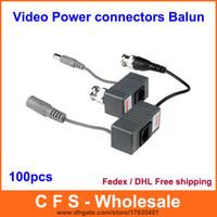 Wholesale 100PCS CH Passive CCTV Video Power RJ45 connectors Video Balun for CCTV Camera DVR DHL