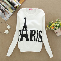 Wholesale 2015 women Printed Paris hoodie Fashion autumn lady Wear Long Sleeved Slim Hoodies Pullover Sweatshirts Student Clothing Moleton