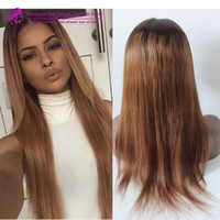 Cheap #1b 30 Peruvian virgin Ombre two tone full lace Wigs Human Hair Lace Front Wig Glueless Ombre Full Lace Wig