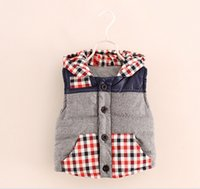 Wholesale Autumn winter Thick Plaid Hooded Vest Children Baby Waistcoat Girls Boy Kid Outwear