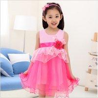 Wholesale Kids girls dress new summer children dress Girls big boy child performances princess veil