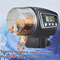 Wholesale Digital Automatic Aquarium Tank LCD Fish Food Pet Feeder Timer Feeding Black New order lt no track
