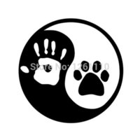 Wholesale Ying and YANG DOG or CAT Paw Hand Print Car Window Vinyl Decal Sticker LOGO Laptop Locker