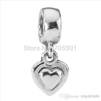 silver flats - New Love Heart Pendant Charm ALE Sterling Silver European Charm Beads for Bracelets snake Chain Jewelry