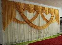 Wholesale 2015 NEW Designed Wedding Backdrops with luxurious Gold Swag for Wedding Decorations m m