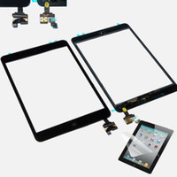 Wholesale Black White iPad Mini Touch Screen Glass Digitizer IC Connector Chip Adhesive Assembly Home Button Front Lens Flex Replacement Part