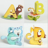 abc of lot - 2015 HOT Kids toys letters of the alphabet animals Children ABC dimensional d puzzle the best educational toys