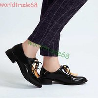 american sheet metal - European American street fashion retro England sheet metal decoration spell color with low heeled oxford shoes women flat heels