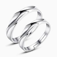 al por mayor elemento para el amante-925 artículos de plata esterlina joyería boda pareja anillos agua ripple convexo ajustable anillo nuevo amante encantos