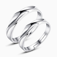 Wholesale 925 sterling silver items jewelry wedding couple rings water ripple convex adjustable ring new lover charms