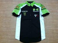 auto shirt - new KAWASAKI monstre motogp auto race team pit crew shirt la camisa chemises white black green Size S M L XL XXL