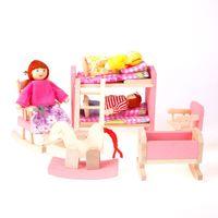 Wholesale New Kids Pretend Role Wooden Toy Dollhouse Nursery Room Miniature Furniture Set