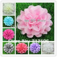 Wholesale Assorted Colours Silk Lace Layered Flowers Mesh Tulle Puff Flower Flowers Kids Garment Hair Accessories