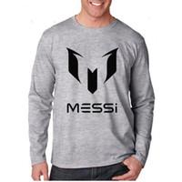 barcelona soccer shirts - brand cotton Barcelona MESSI Soccer Men t shirt tops Man casual sport long sleeve football t shirts Plus Size XS XXL