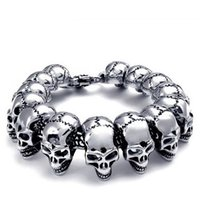 Wholesale Mens Boys silver Skull Links Chain Bracelet Stainless Steel Punk Bangle Men s cool vintage Jewellery