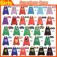 Wholesale Kids cosplay Superhero Capes mask Children cape masks Halloween costume Multiple choices cape and mask L70 W70CM