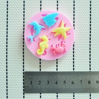Wholesale New Lovely Sea Animal Cake Decorating Sugarcraft Silicone Mould Fondant Mold Tool With Seahorse Shells160410