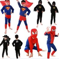 Cheap Children Batman Spiderman Superman Costumes For Kids Zentai Superhero Suits Cosplay Clothes For Boys superhero suits long sleeve in stock