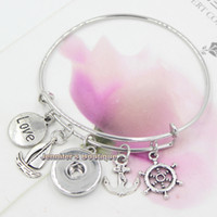 anchor diy - New Fashion DIY Interchangeable Jewelry Alex and Ani Nautical Anchor Shipwheel Sailboat Expandable Wire Bangle Ginger Snap Bracelets Jewelry