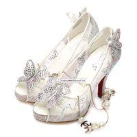 2015 New Hot Cinderella Prom Luxo sapatos de casamento da princesa salto alto Cristais Sparkly Lace sandálias de verão brancas Peep Toe Calçados nupcial MYF106