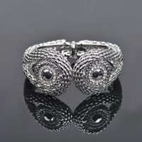 fashion bangles rhinestones - Women Rhinestone Trendy Cat Eye Bangles Owl Bangle Fashion Rose Gold Plated Bracelet SZ0012