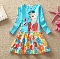 Jackets kids costumes - Spring Froze Cartton Elsa Dress Pure Cotton Long Sleeve Girl Dress Printing Flower Tutu Baby Princess Dresses Kids Costume TR83