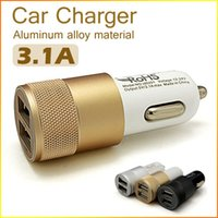 Wholesale 12V A Aluminum Material Port Universal USB Car Charger Adapter For iPhone SE s Plus s iPad Pro For Samsung Galaxy S7 S6 Edge Phones