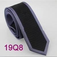 Wholesale Coachella Mens Ties Bordered Blue Grey Black Stripes Necktie Fashion SLIM SKINNY Tie Fashion tie for Men