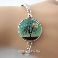 antique shot glasses - Harvest Moon Bangles Tree Jewelry Full Moon Shooting Star Landscape Art bangles Antique silver metal with glass cabochon dome