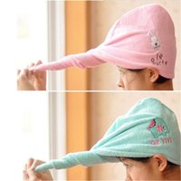 Wholesale Cartoon Rabbit Elephant Hair Drying Cap Hat Quick Dry Towel Personal Care High tech Textile Weaving Microfiber Fabric