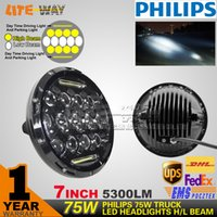 Cheap 7 inch 75w truck Led headlight daytime running light Hi  Low Beam
