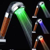 Wholesale Tourmaline SPA Anion Shower Head Temperature Sensor RGB Color LED shower head