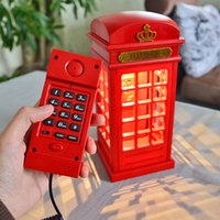 antique telephone desk - Antique Red Color Telephone Booth Wire Phone Set LED Desk Table Lamp In Function