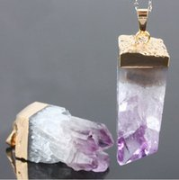 achat en gros de perle suspendue drôle d'améthyste-Polished Améthyste Naturelle Druzy Drusy Quartz Pourpre Pierre Rectangle Pendentif Perles Bijoux Avec Or Argent Electroplated Fail For Choisir