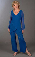 ladies pant suits - Latest Elegant Blue Mother Of The Bride Pant Suits Trousers with Long Sleeve Lady Summer Beach Wear Formal Suits for Women d114