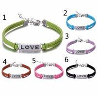 personalized gifts - 60pcs Mix Colors Handmade LOVE Leather Bracelet Wrap Infinity Charm Bracelets Personalized Bracelet Christmas Valentines Gift N837