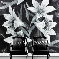 Wholesale Magnificent Flowers Glass Mosaic Tile Modern Art Wall Mural sofa background wall entranceway bathroom