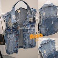 Cheap Wholesale-Denim Jacket Vest Women Ripped Hole Distress Vintage Jean Vests For Woman Female Girl Denim Coats Sleeveless 2015 Spring Summer