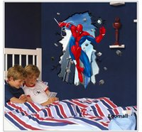 Wholesale Removable Superman3d Spiderman Wall Stickers for Kids Boys Rooms Wall Stickers Home Decor adesivo de paredeSuper hero Wall Decal