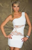 Wholesale One Shoulder Wrapped Chest Europe And America Racy Lingerie Lace Splice Sexy Plus Size Club Dresses