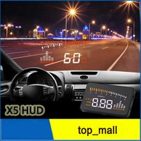 Wholesale X5 Universal Car HUD Alarm System Head Up Display KM h MPH Speeding Fuel Warning Windshield Projector Car Detector OBD Interface