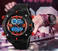 alarm chrono watch - Fashion Outstanding Men Waterproof m Dual Time PU Strap Watch Chrono Alarm Outdoor Sport Wrist Watch