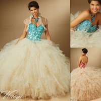 beading websites - Ball Gowns Quinceanera Dresses Websites Colorful Appliques Turquoise Lace Puffy And Ruffles Champagne Tulle Sweetheart Debutante