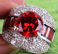 Wholesale 2016 A0079 Round Topaz Lady Engagement Jewelry Round Cut CT Garnet White Topaz Gemstones Silver Ring Size In Stock