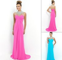 asian evening gowns - 2015 Elegant High Neck Fuchsia Prom Dresses Chiffon Beaded Crystals Custom Made Evening Gowns Asian Dress For Girls Affordable On Line Shop
