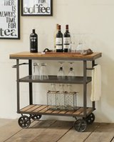 Wholesale American Iron Wood diner fashion creative drinks trolley moving small diner fine dining Wine cabinet