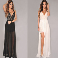 Wholesale sexy lace gauze Low bosom backless Front Fork maxi dresses Tpants two piece sets white black long gown dress lingerie nightwear underwear